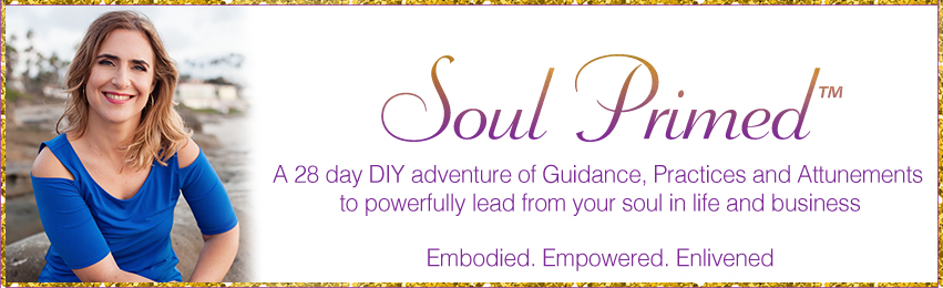 Soul Primed – A 28 day DIY adventure of Guidance, Practices and Attunements to powerfully lead from your soul in life and business. Embodied. Empowered. Enlivened